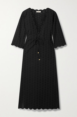 Tory Burch Scalloped Broderie Anglaise Cotton Kaftan - Black