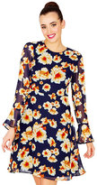 Betsey Johnson Tie Back Sheer Sleeve Floral Dress