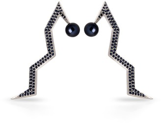 Cristina Cipolli Jewellery Snaketric Edgy Earrings Silver With Black Diamonds & Pearls