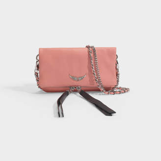 Zadig & Voltaire Rock Nano Crush Metal Bag In Pink Leather
