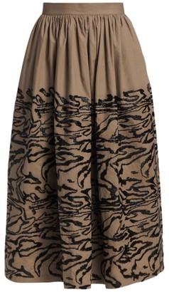 Rachel Comey Sage Sequin Tiger Print Midi Skirt