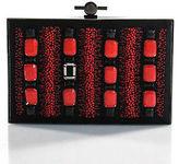 Jason Wu Black Pewter Tone Beaded Jewel Embellished Hinge Clutch