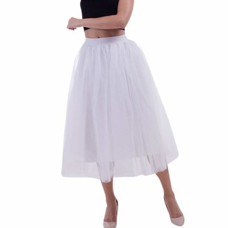 Beetlenew Womens Dress Women Tutu Skirts Multi Layer Tulle Ballet Skirt Fluffy Midi Bubble Skirt Fancy Dancing Mid Calf Skirt Adult Petticoat Underskirt Mesh Dancewear Gauze Pleated Skirt Half Slip (Free Size