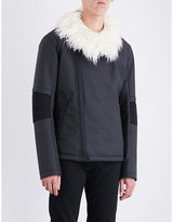Helmut Lang Faux-fur collar shell jacket