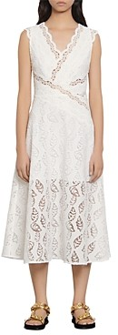 Sandro Zalan Lace Faux-Wrap Dress