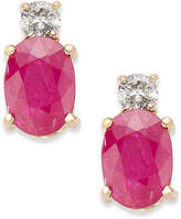 Macy's 14k Gold Earrings, Ruby (2 ct. t.w.) and Diamond (1/8 ct. t.w.) Oval Earrings
