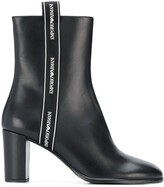 Emporio Armani logo trim ankle boots