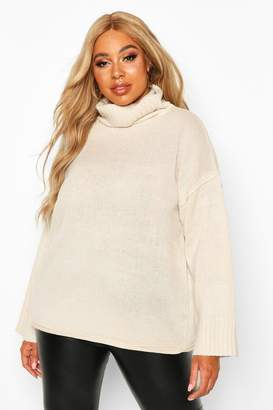 boohoo Plus Roll Neck Drop Shoulder Jumper