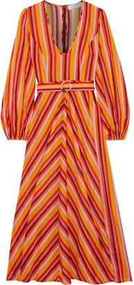 Zimmermann Goldie Plunge Belted Striped Cotton-voile Midi Dress