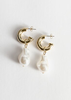 And other stories Pearl Pendant Mini Hoop Earrings