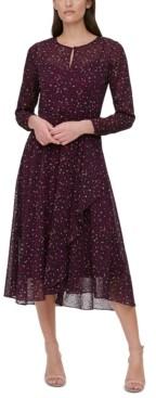 Tommy Hilfiger Animal Print Long-Sleeve A-Line Dress