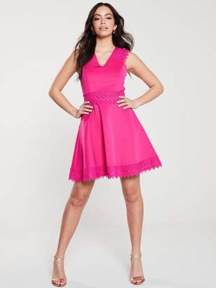 Ted Baker ElaynaCrochet Lace Skater Dress - Bright Pink