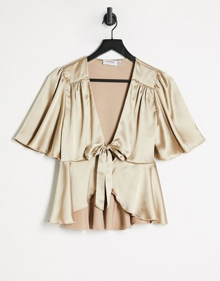 Flounce London Flounce satin tie front blouse co ord with puff sleeve in light gold
