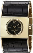 Nine West Women's Quartz Metal and Polyurethane Dress Watch, Color:Black (Model: NW/1926BKBK)
