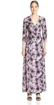Gracia Women's Floral Print Maxi Wrap Dress Grey L