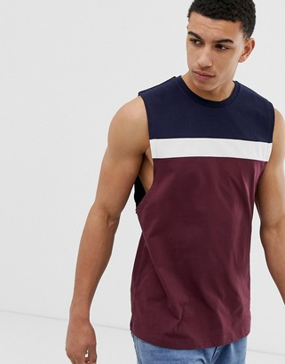 Asos Design DESIGN relaxed sleeveless t-shirt with dropped armhole and colour block in burgundy-Red