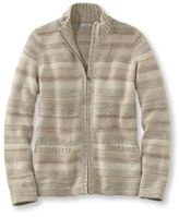 L.L. Bean Marled Cotton Sweater, Zip-Front Cardigan Multistripe