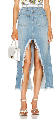 Givenchy Long Cross Over Denim Skirt in Blue | FWRD