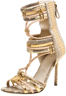Sergio Rossi Metallic Beige Mix Exotic Leather Braid Detail Peep Toe Sandals Size 36.5