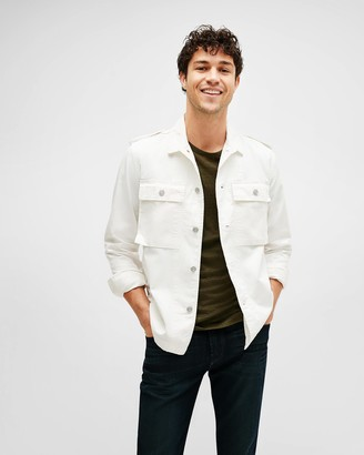 7 For All Mankind Military Shirt Jacket in Off-White