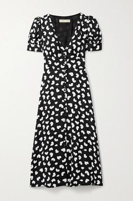 MICHAEL Michael Kors Printed Crepe Midi Dress - Black