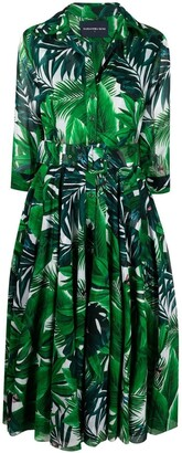 Samantha Sung Aster rubber plant print dress