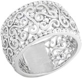 Savvy Cie Sterling Silver Pave CZ Filigree Eternity Band Ring