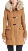 Trina Turk Coyote Fur-Lined Hooded Toggle Coat