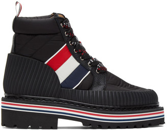 Thom Browne Black Tricolor Stripe Boots