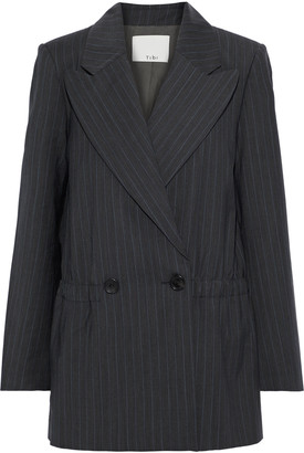 Tibi Oversized Double-breasted Pinstriped Wool-blend Blazer