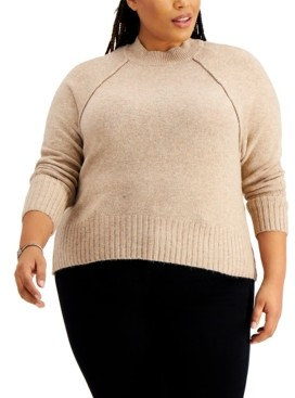 Full Circle Trends Trendy Plus Size Mock-Neck Sweater
