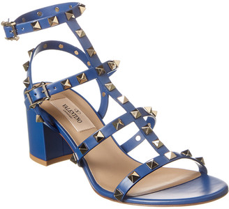 Valentino Rockstud Caged 60 Leather Ankle Strap Sandal