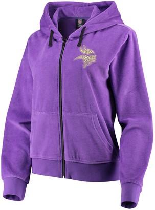 Women's Purple Minnesota Vikings Velour Suit Full-Zip Hoodie