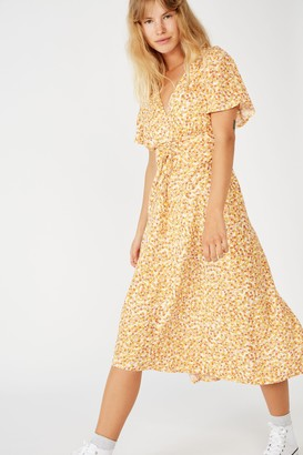 Cotton On Woven Issa Gathered Front Midi Dress