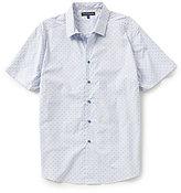 Vince Camuto Striped Dobby Slim-Fit Short-Sleeve Shirt