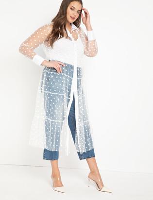 ELOQUII Sheer Dot Maxi Dress