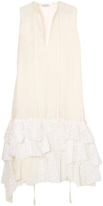J.W.Anderson Asymmetric Ruffled Crepe De Chine And Broderie Anglaise Cotton Dress