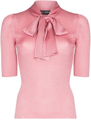 Dolce & Gabbana Pussy-Bow Metallic Ribbed-Knit Top