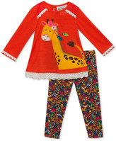 Rare Editions 2-Pc. Giraffe Sweater & Floral-Print Leggings Set, Baby Girls (0-24 months)