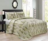 Chezmoi Collection KAMA by 3PC Luxury Embroidery Bamboo Forest Reversible Quilted Bedspread Set (Queen)