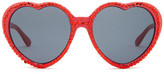 Betsey Johnson Women&s Bling It On Rhinestone Heart Sunglasses