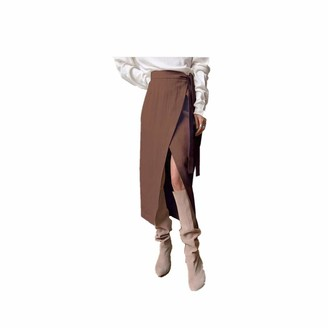 Younthone Women's Autumn and Winter Skirt Vintage High Waist Midi Lace-Up Split Skirt Fashion Casual Solid Color Thickening Party Dress Elegant Lady Temperament Brown