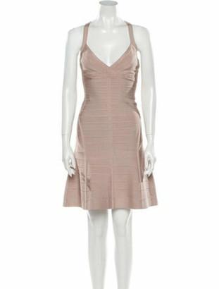 Herve Leger V-Neck Mini Dress Pink