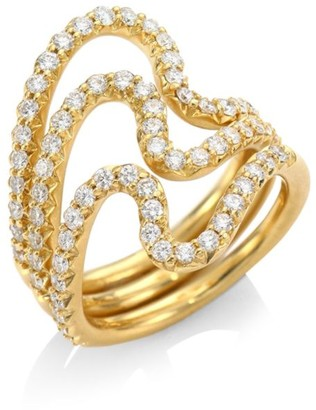 Carelle Brushstroke Diamond & 18K Yellow Gold N 22 Ring Set
