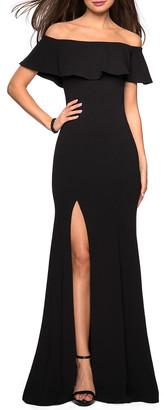La Femme Off-the-Shoulder High-Slit Jersey Dress