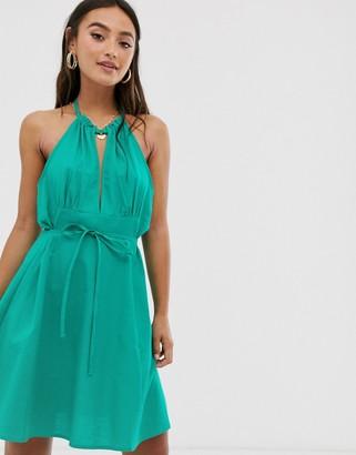Asos Design DESIGN halter mini skater sundress with tie belt-Green