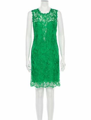 Emilio Pucci Lace Pattern Knee-Length Dress Green
