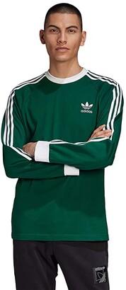 adidas 3-Stripes Long Sleeve Tee (Dark Green) Men's T Shirt