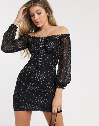 Topshop corset front mini dress in black