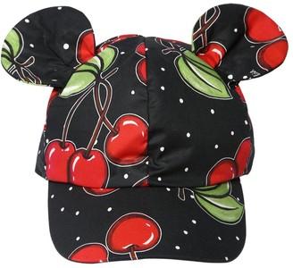 MonnaLisa Cherry Printed Hat W/ Ear Appliques
